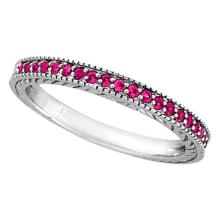 Pink Sapphire Stackable Ring Band with Milgrain Edges in Palladium #53199v3