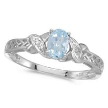 Aquamarine and Diamond Antique Style Ring in 14K White Gold (0.40ct) #52988v3