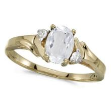 Oval White Topaz and Diamond Accented Ring 14K Yellow Gold (1.00ct) #53717v3