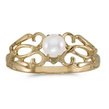 Certified 10k Yellow Gold Pearl Filagree Ring #50729v3