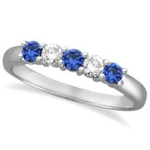 Five Stone Blue Sapphire and Diamond Ring 14k White Gold (0.50ctw) #53784v3