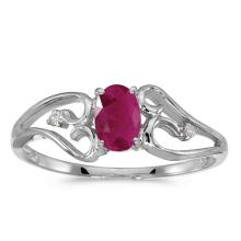 Certified 10k White Gold Oval Ruby And Diamond Ring #50694v3