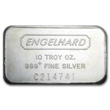 10 oz Silver Bar - Engelhard (Wide, Struck, Logo Reverse) #21927v3