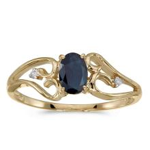 Certified 10k Yellow Gold Oval Sapphire And Diamond Ring #50731v3