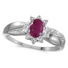 Ruby and Diamond Right Hand Flower Shaped Ring 14k White Gold (0.55ct) #53184v3