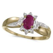 Ruby and Diamond Right Hand Flower Shaped Ring 14k Yellow Gold (0.55ct) #53183v3