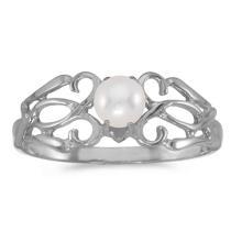 Certified 10k White Gold Pearl Filagree Ring #50690v3