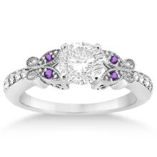 Butterfly Diamond and Amethyst Engagement Ring 18k White Gold (0.20ct) #20941v3