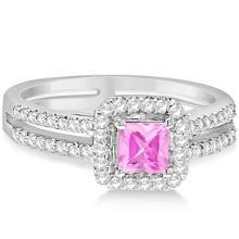Enhanced Pink Diamond Engagement Ring Split Shank 18K W. Gold 0.94ct #20899v3