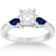 Pear Three Stone Blue Sapphire Engagement Ring 14k White Gold (0.50ct) #20980v3