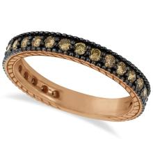 Champagne Diamond Eternity Band Black Rhodium 14k Rose Gold (1.00ct) #21349v3
