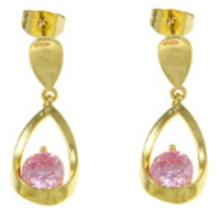 18K Gold Plate Pink CZ Stone Open Loop Dangle Earrings #19243v3