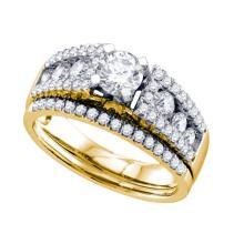 14K Yellow-gold 1.27CT DIAMOND 0.40CT CENTER ROUND BRIDAL SET #58750v2