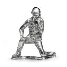 Silver Army Figurine - Radioman Soldier #21867v3