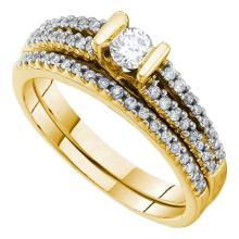 14K Yellow-gold 0.50CT DIAMOND 0.20CT CENTER ROUND BRIDAL SET #57532v2