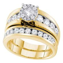 14K Yellow-gold 1.76CT DIAMOND SOLIEL BRIDAL SET #58169v2