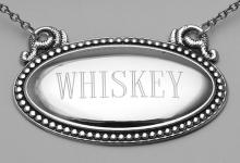 Whiskey Liquor Decanter Label / Tag - Oval beaded Border - Made in USA #98150v2
