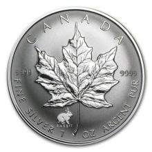 1999 Canada 1 oz Silver Maple Leaf Lunar RABBIT Privy #22009v3