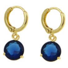 18K Gold Plate Large Blue Faceted CZ Stone Dangle Earrings #19244v3