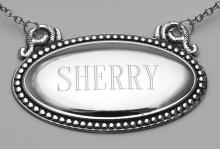 Sherry Liquor Decanter Label / Tag - Oval beaded Border - Made in USA #98154v2