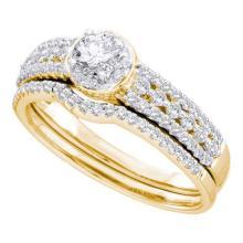 14KT Yellow Gold 0.74CTW DIAMOND LADIES BRIDAL SET #52766v2