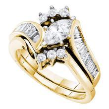 14KT Yellow Gold 1.25CTW DIAMOND 0.50CTW CENTER MARQUISE BRIDAL SET #55390v2