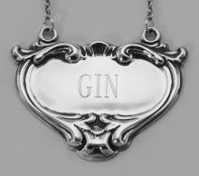 Gin Liquor Decanter Label / Tag - Sterling Silver #98020v2