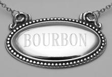 Bourbon Liquor Decanter Label / Tag - Oval beaded Border - Made in USA #98155v2