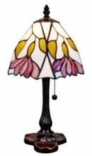 TIFFANY STYLE AM016TL08 15.5-INCH FLORAL MINI TABLE LAMP #10220v3