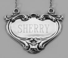 Sherry Liquor Decanter Label / Tag - Sterling Silver #98024v2