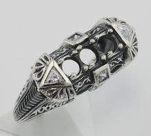 Art Deco Style Semi Mount Sterling Silver Filigree Ring w/ CZ Accents #98348v2