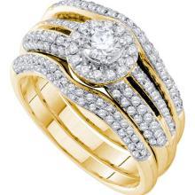 14K Yellow-gold 1.02CT DIAMOND 0.30CT CENTER ROUND BRIDAL SET #57147v2