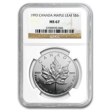 1993 Canada 1 oz Silver Maple Leaf MS-67 NGC #21997v3