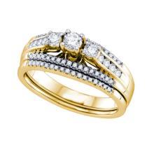 14K Yellow-gold 0.50CT DIAMOND 3 STONE BRIDAL SET #58711v2