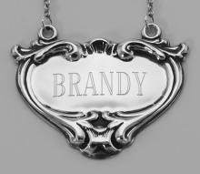 Brandy Liquor Decanter Label / Tag - Sterling Silver #98023v2