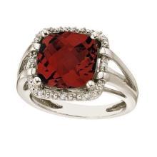 Cushion-Cut Garnet and Diamond Cocktail Ring 14k White Gold (8.05cttw) #21365v3