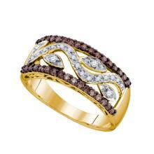 10KT Yellow Gold 0.48CTW COGNAC DIAMOND LADIES FASHION BAND #50903v2