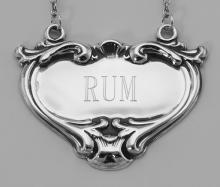 Rum Liquor Decanter Label / Tag - Sterling Silver #98019v2