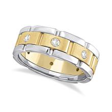 Mens Wide Band Diamond Eternity Wedding Ring 18kt Two-Tone Gold (0.40ct) #21356v3