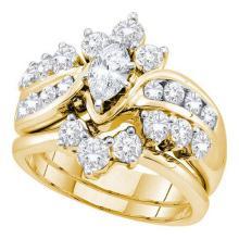 14K Yellow-gold 1.99CT DIAMOND 0.40CTCMQ BRIDAL SET #56669v2
