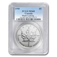 1998 Canada 1 oz Silver Maple Leaf MS-68 PCGS #22010v3