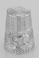 Cute Cat Sewing Thimble in Fine Sterling Silver #98029v2