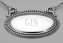 Gin Liquor Decanter Label / Tag - Oval beaded Border - Made in USA #98151v2