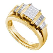 14KT Yellow Gold 0.51CTW DIAMOND INVISIBLE BRIDAL SET #55095v2