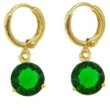 18K Gold Plate Large Emerald Faceted CZ Stone Dangle Earrings #19245v3