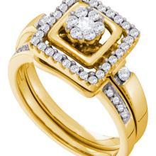 14K Yellow-gold 0.50CT DIAMOND FLOWER BRIDAL SET #57513v2