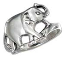 STERLING SILVER ELEPHANT WITH TRUNK UP RING #17712v3