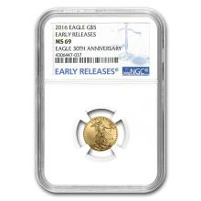 2016 1/10 oz Gold American Eagle MS-69 NGC (Early Releases) #22591v3