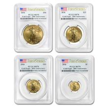 2016 4-Coin Gold American Eagle Set MS-70 PCGS (FS) #22597v3