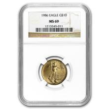 1986 1/4 oz Gold American Eagle MS-69 NGC #22709v3